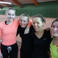 Aufstieg der Juniorinnen in die 1. Bezirksliga am 12. März 2017. Fabienne, Carlotta, Nathalie und Johanna.