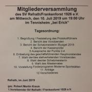Mitgliederversammlung des Gesamtvereins am 10. Juli