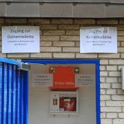 So sah der Eingang zu den Toiletten bis 30. Mai aus.