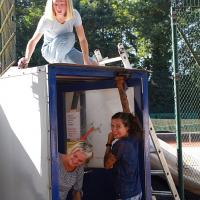 Luisa, Silke und Karo kümmerten sich um die Schleuse.