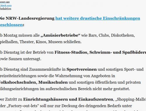 Sportbetrieb ab Montag, 16. März eingestellt