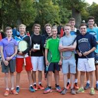 StM 2016 Jugend: Die Stadtmeisterschaften liefen noch, als plötzlich die whatsapp-Gruppe ''Kalifornisches Doppel'' den Centercourt übernahm.
