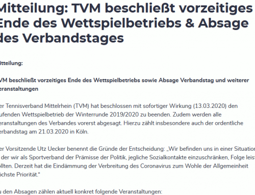 TVM beschließt Ende des Winter-Wettspielbetriebs