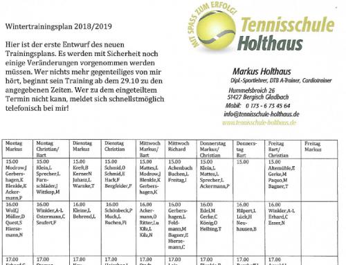 Wintertrainingsplan der Tennisschule Holthaus
