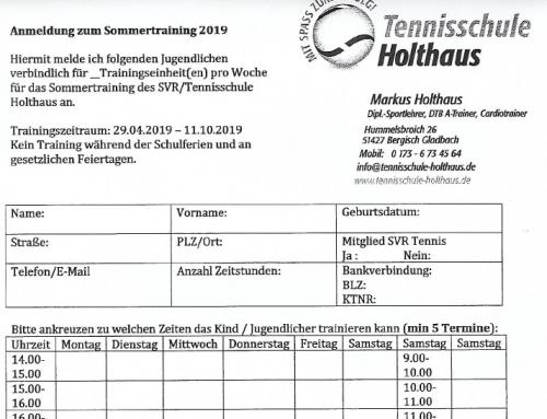 Anmeldung Ostercamps und Sommertraining